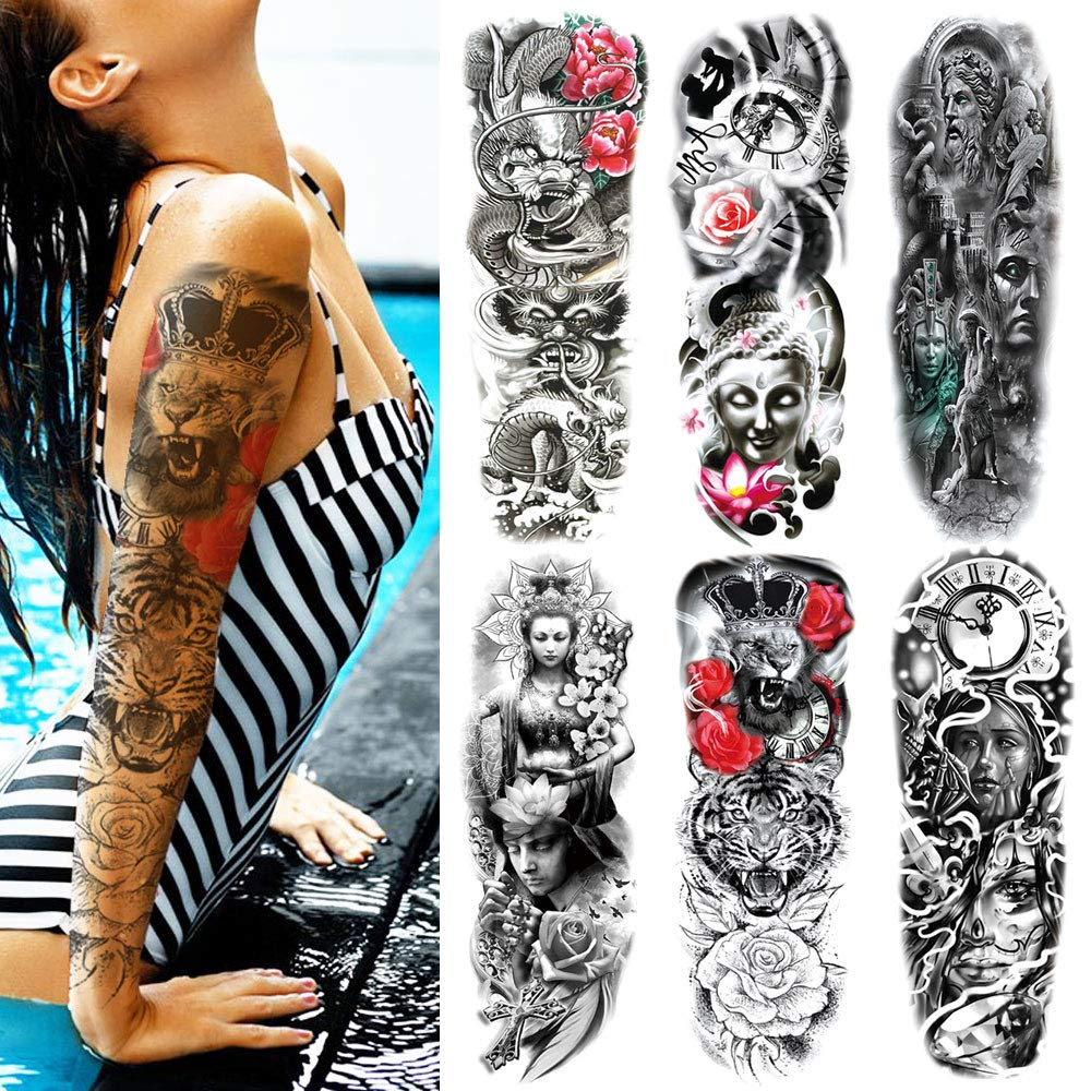 Temporary Tattoos for Women Men Adults Kids Boys Girls Extra Large Full Arm Leg Body Hand Waterproof Fake Tattoo Stickers 6 Sheets Non-toxic Safe for All Skin
