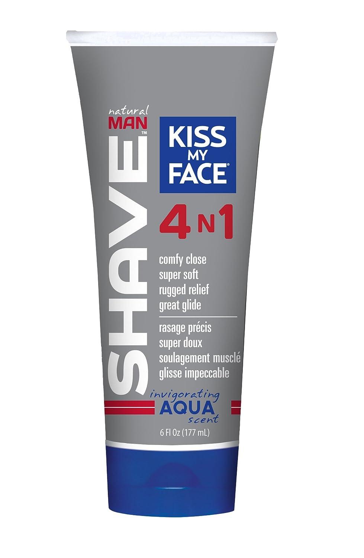 Kiss My Face Natural Man Aqua 4 in 1 Moisture Shave Cream, 6 Fluid Ounce