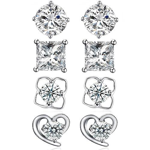 0b3d3a930 Sterling Silver Cubic Zirconia Stud Earrings Set Princess Cut Round Flower  Heart Star CZ Small Silver Earrings, by DreamSter