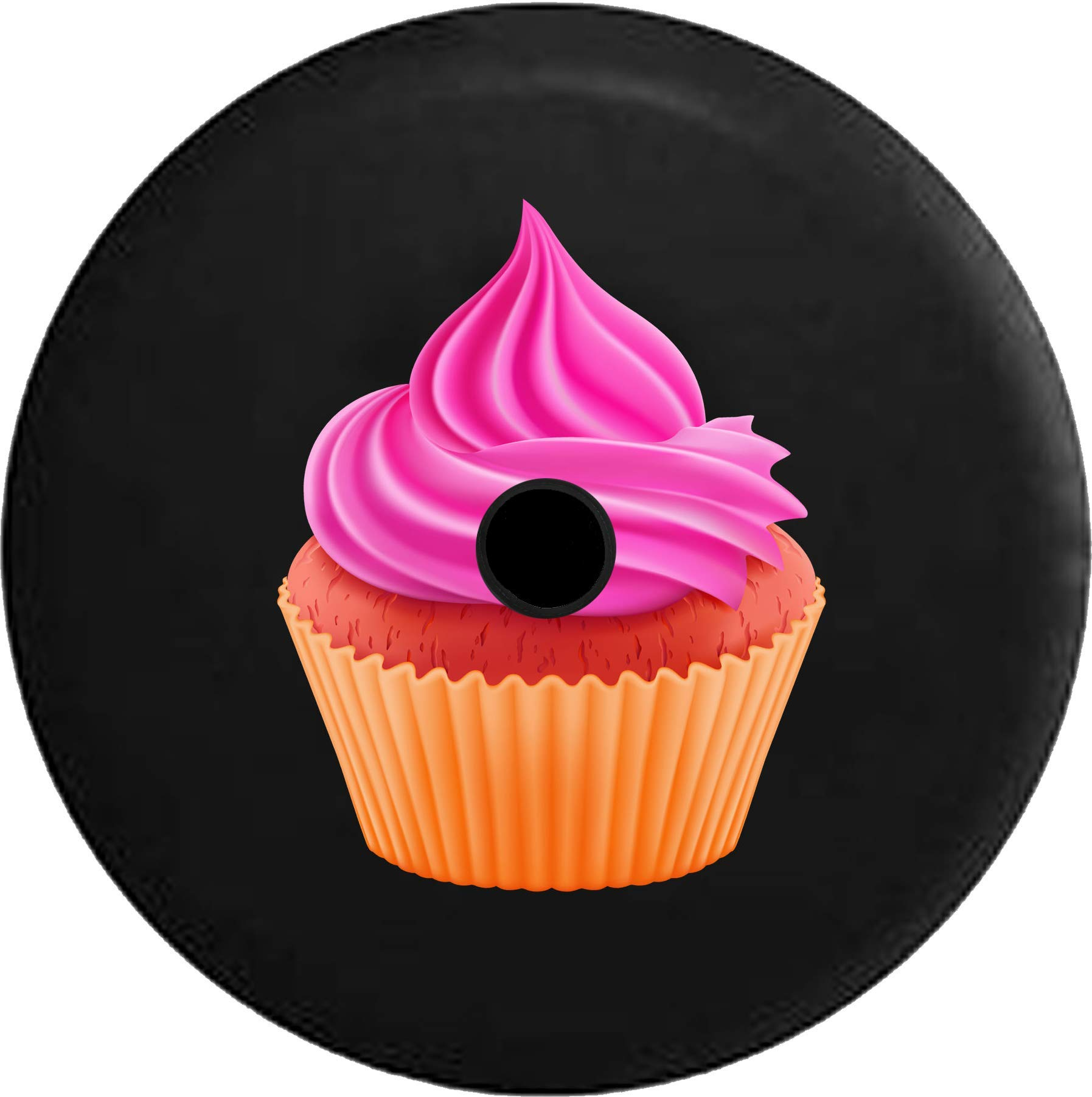 JL Spare Tire Cover Frosted Red Velvet Cupcake Frosting - Dessert with Backup Camera Hole Black 33 in by Steelcut