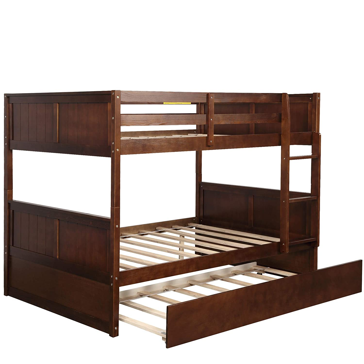 Full Over Full Bunk Bed with Trundle, WeYoung Solid Wood Bunk Bed Frame Convertible to Full Full Size with Rails and Ladder for Adults Walnut