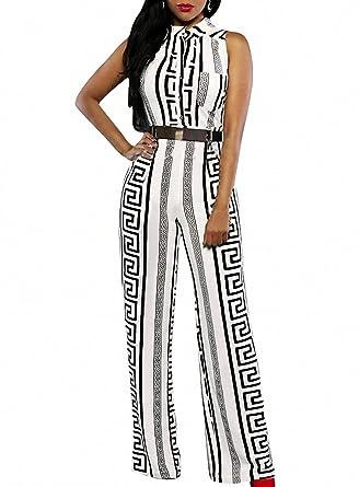 ISSHE Damen Schwarz   Weiß Festlich Elegant Jumpsuit Gürtel Ärmellos breit  Bein Overall Catsuit Clubwear Kleidung 846660e985
