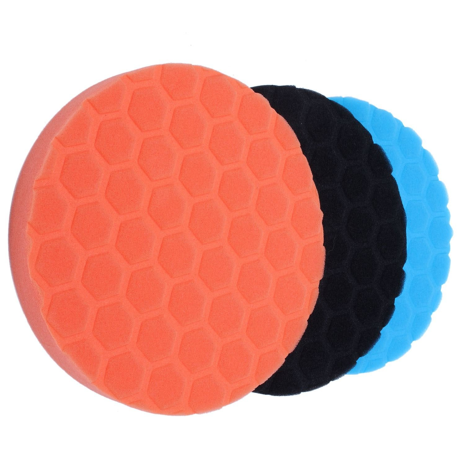 TOOGOO 3X Hex-Logic Buff Buffering Polishing Pad kit Auto Car Polisher 7 inch 109194A5