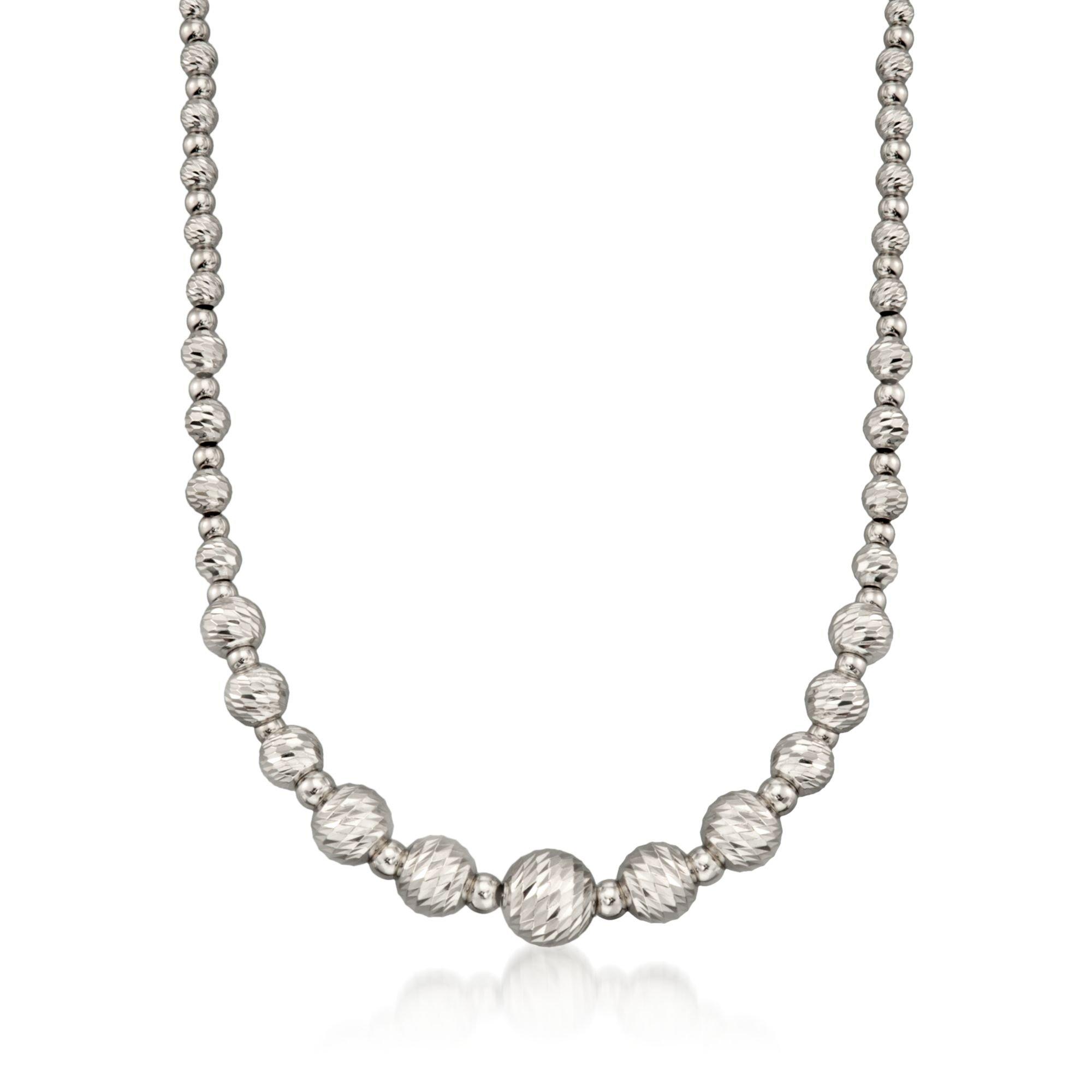 Ross-Simons Italian Sterling Silver Diamond-Cut Bead Necklace