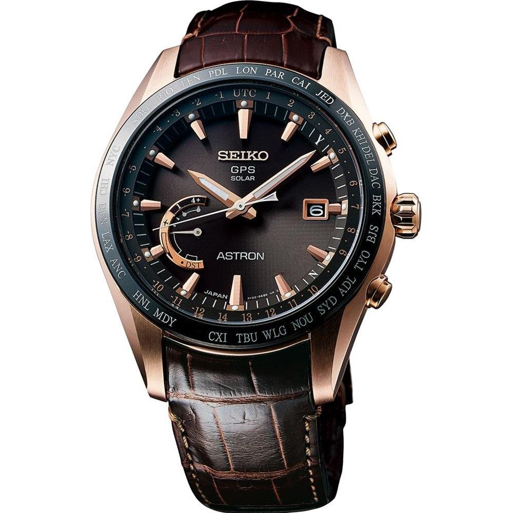 f081d3af70c Amazon.com  Mens Seiko Astron GPS Solar World Time Gold Watch SSE096   Watches