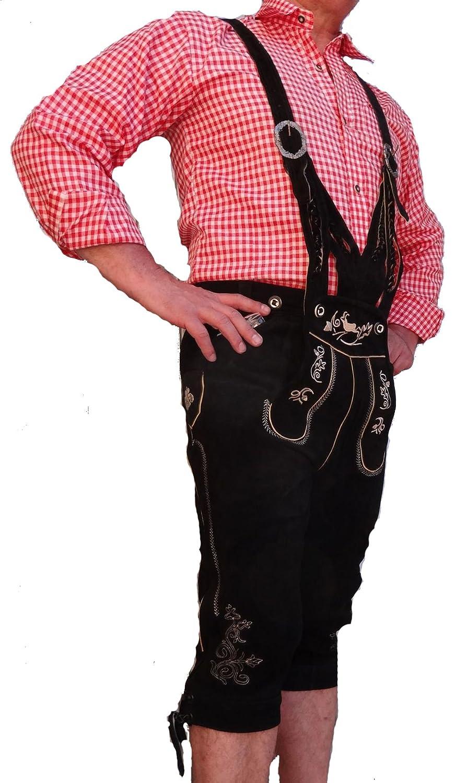 Bangla 1523 Lederhose Trachten Kniebund Wildleder mit Trägern in V-Form schwarz Gr. 46-64