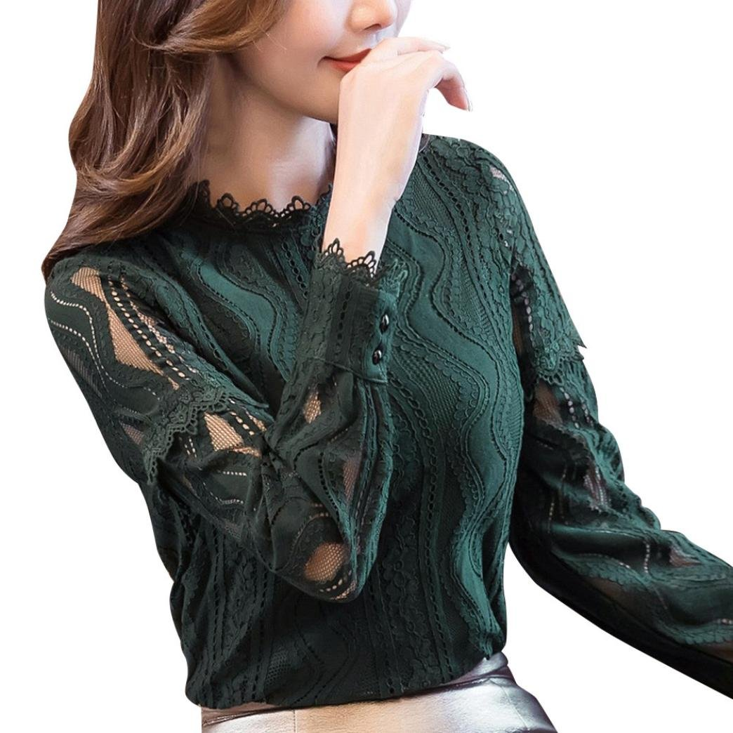 Lace Blouse,Toimoth Womens Office Lace Striped Floral Long Sleeve Slim Work Shirt Top (Green,XXL)