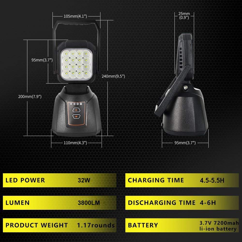 AAIWA Lampe de Travail Magn/étique Portative Rechargeable LED Tente de Secours Ext/érieure /à la Lumi/ère Dinondation 48W 4800LM