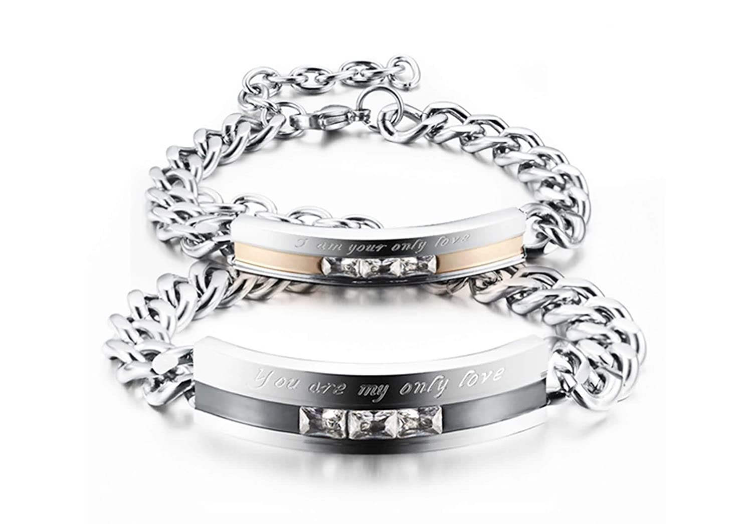 Aokarry Jewelry His and Hers Stainless Steel Chain Bracelet Cubic Zirconia You are My only Love