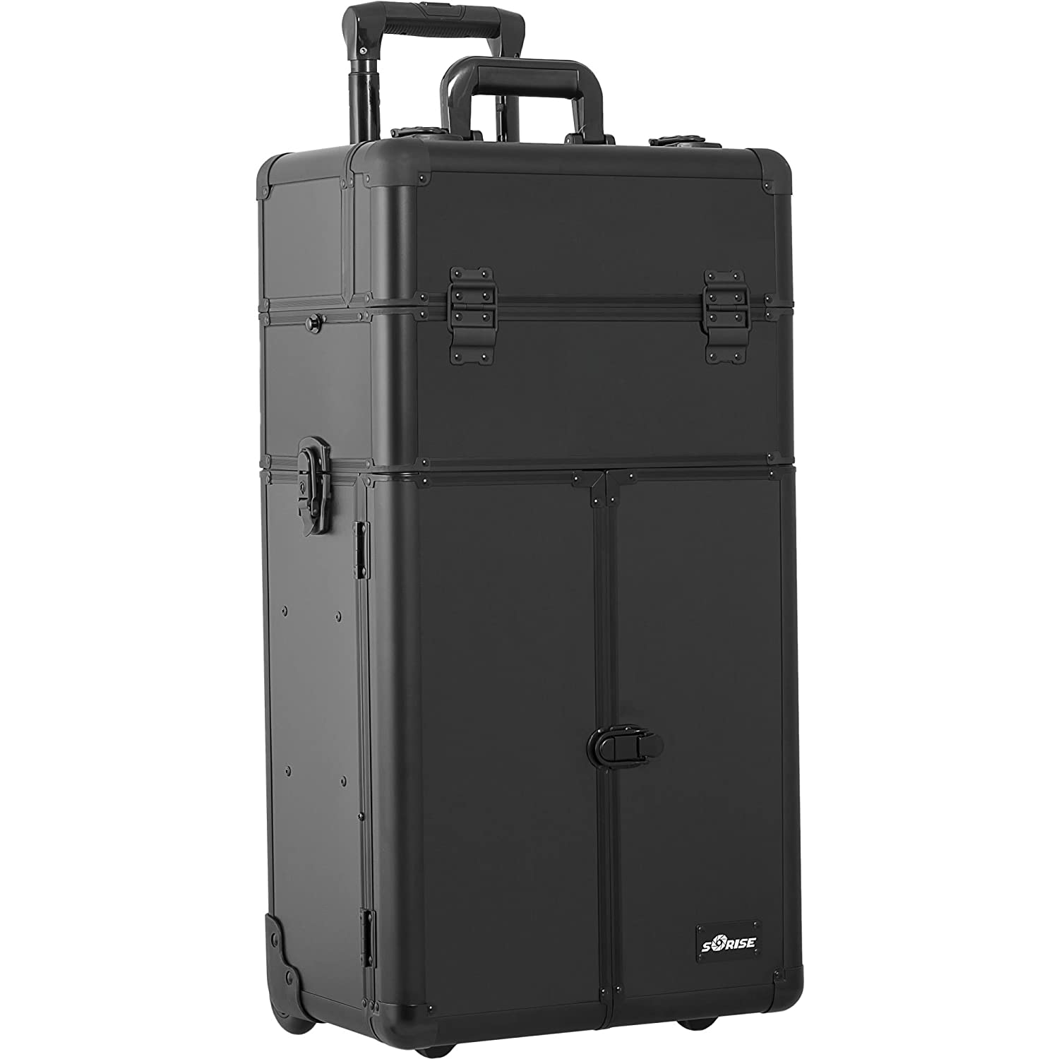 SUNRISE Makeup Case on Wheels 2 in 1 Professional Organizer I3166, French Doors, 4 Slide Trays and 3 Drawers, Mirror with Shoulder Strap, Black Matte