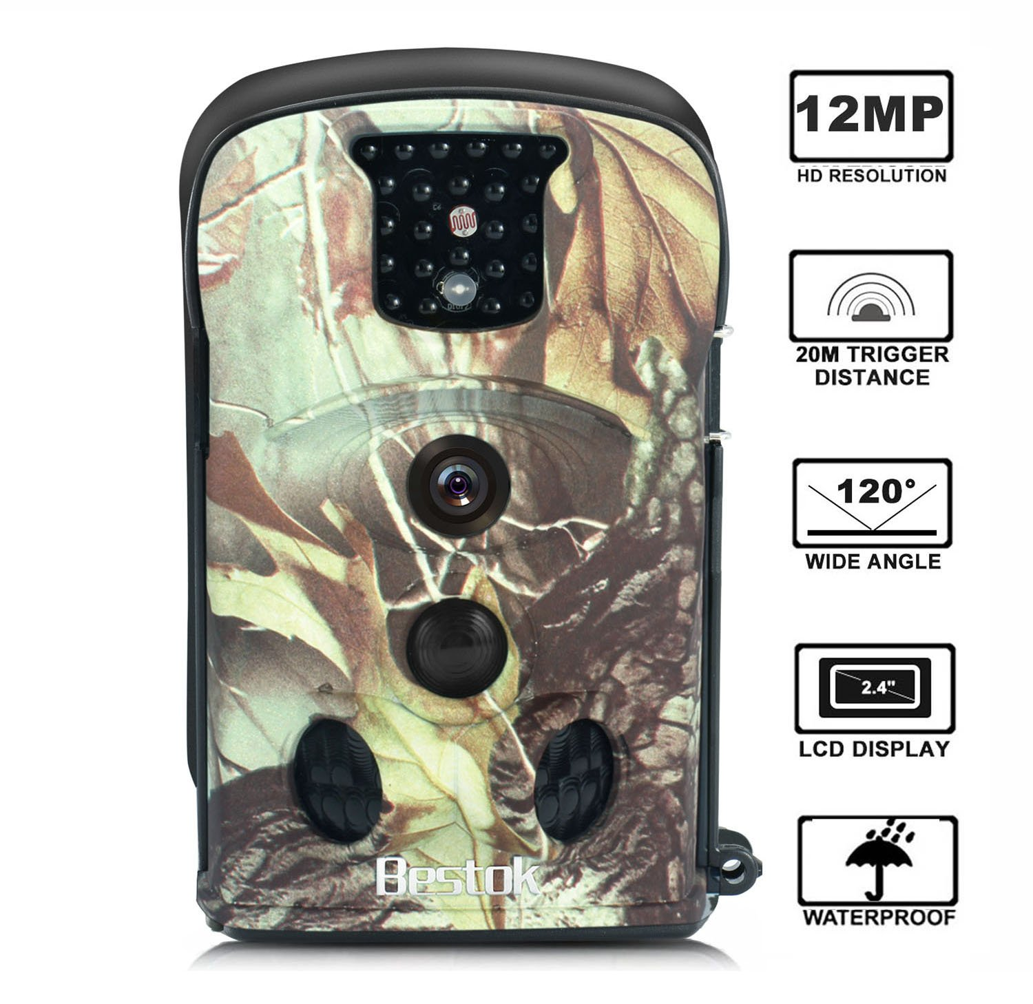 Trail Camera Bestok 12MP 120° Full HD Night Vision up to 65ft/20m, Waterproof IP54 Protected 2.4LCD Screen Wildlife Camera for Security