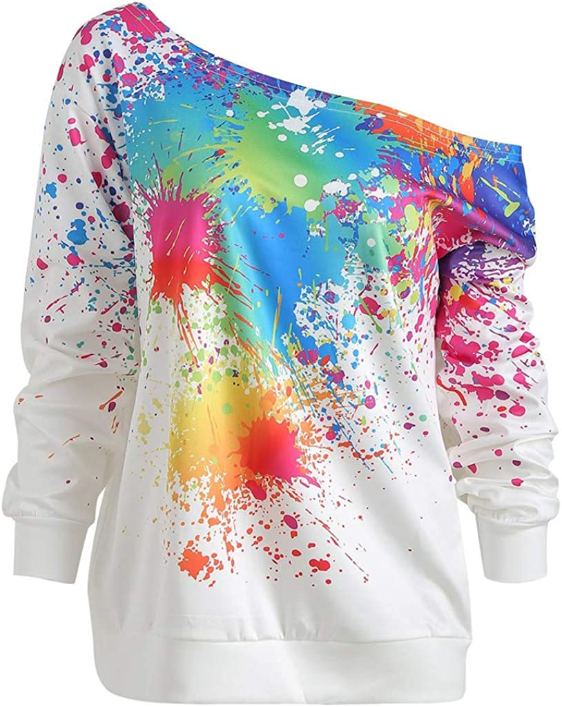 80s Sweatshirts and Sweaters SweatshirtToimoth Women Casual Loose Long Sleeve Rainbow Print Pullover Blouse Shirts $12.83 AT vintagedancer.com