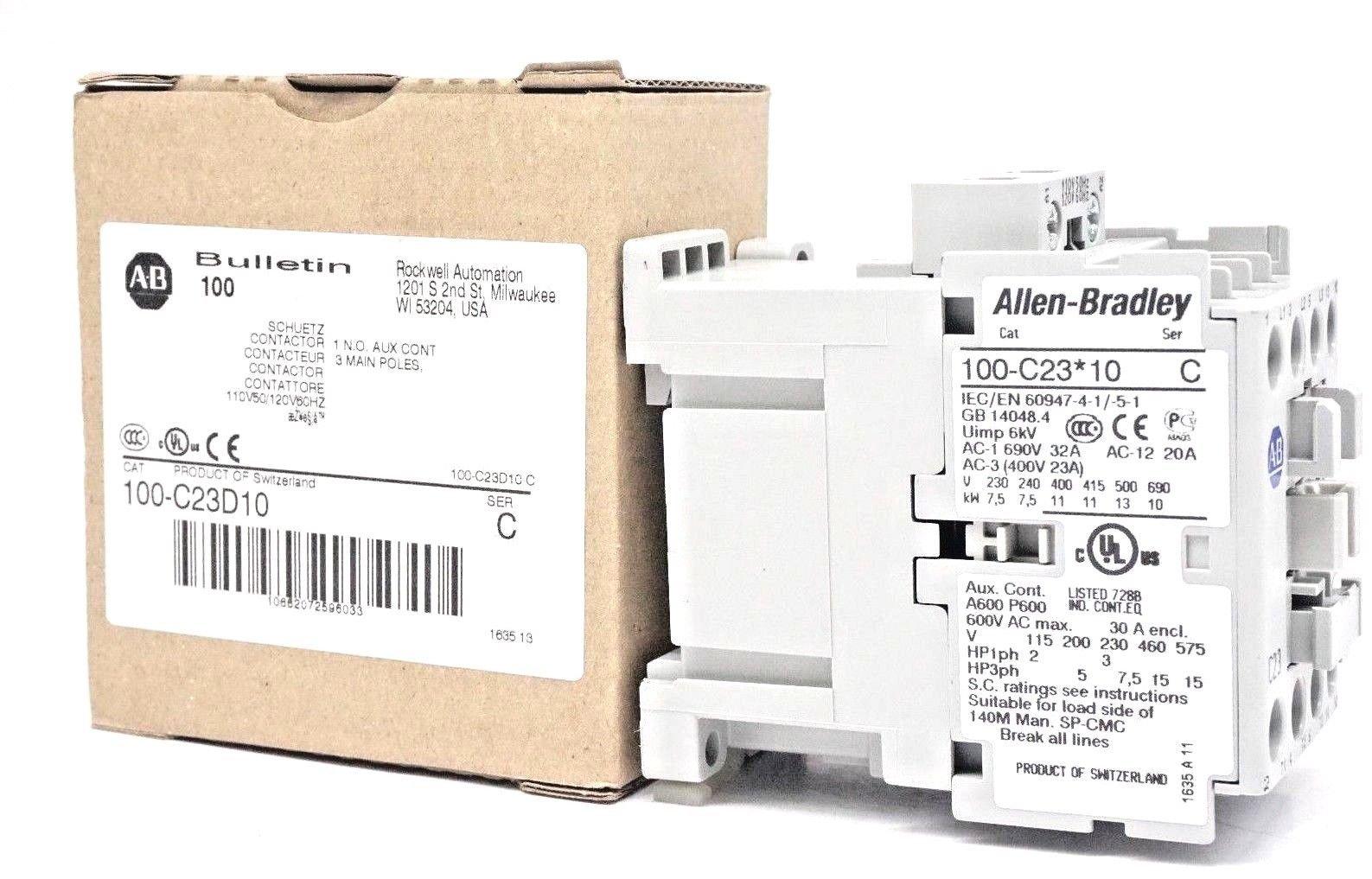 New Allen Bradley 100-C23D10 CONTACTOR Series C 100C23D10