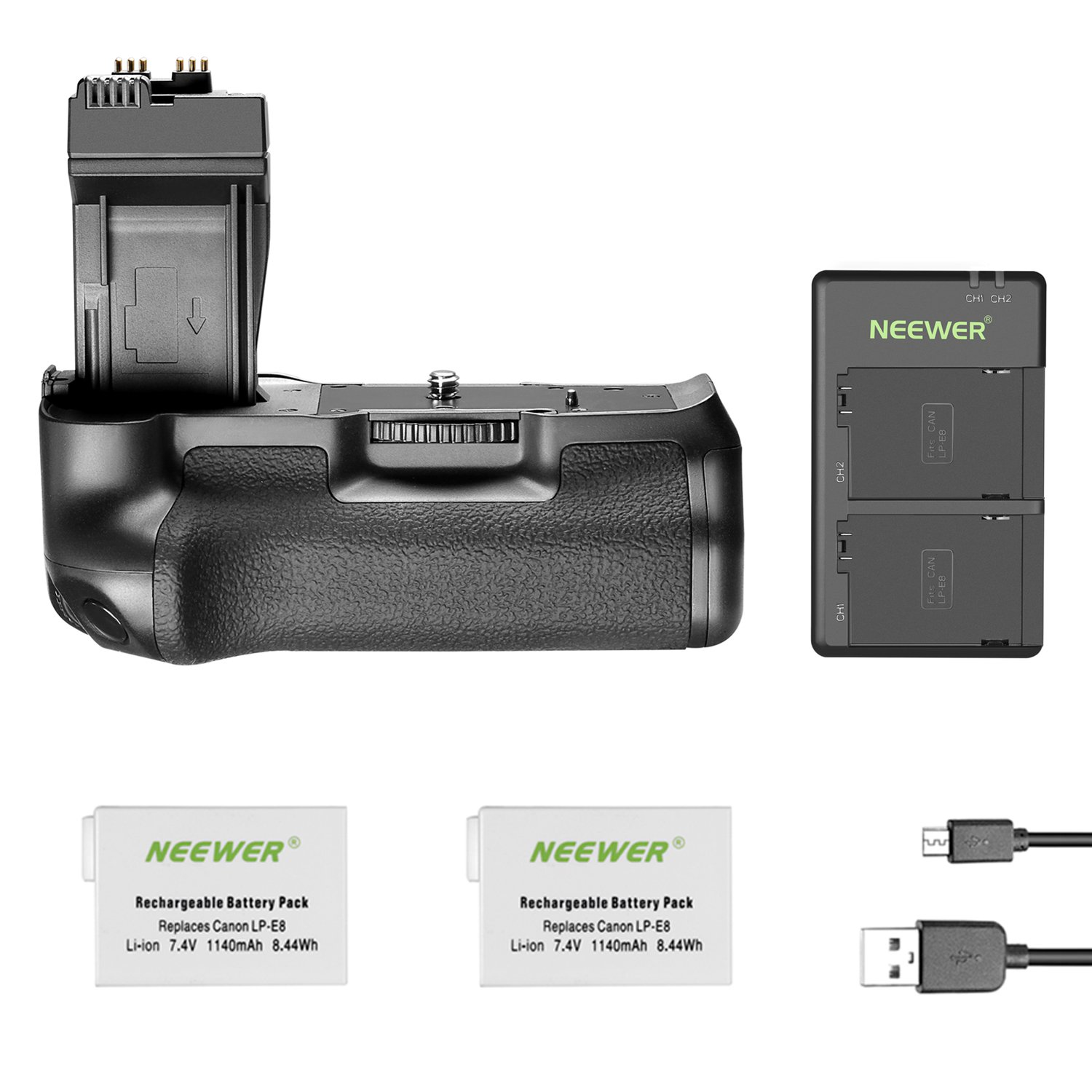 Neewer BG-E8 Replacement Battery Grip for Canon EOS 550D 600D 650D 700D Rebel T2i T3i T4i T5i DSLR Cameras, Comes with 2-Pack 1140 mAh LP-E8 Replacement Li-ion Battery and Dual Battery Charger 90091084@@os1