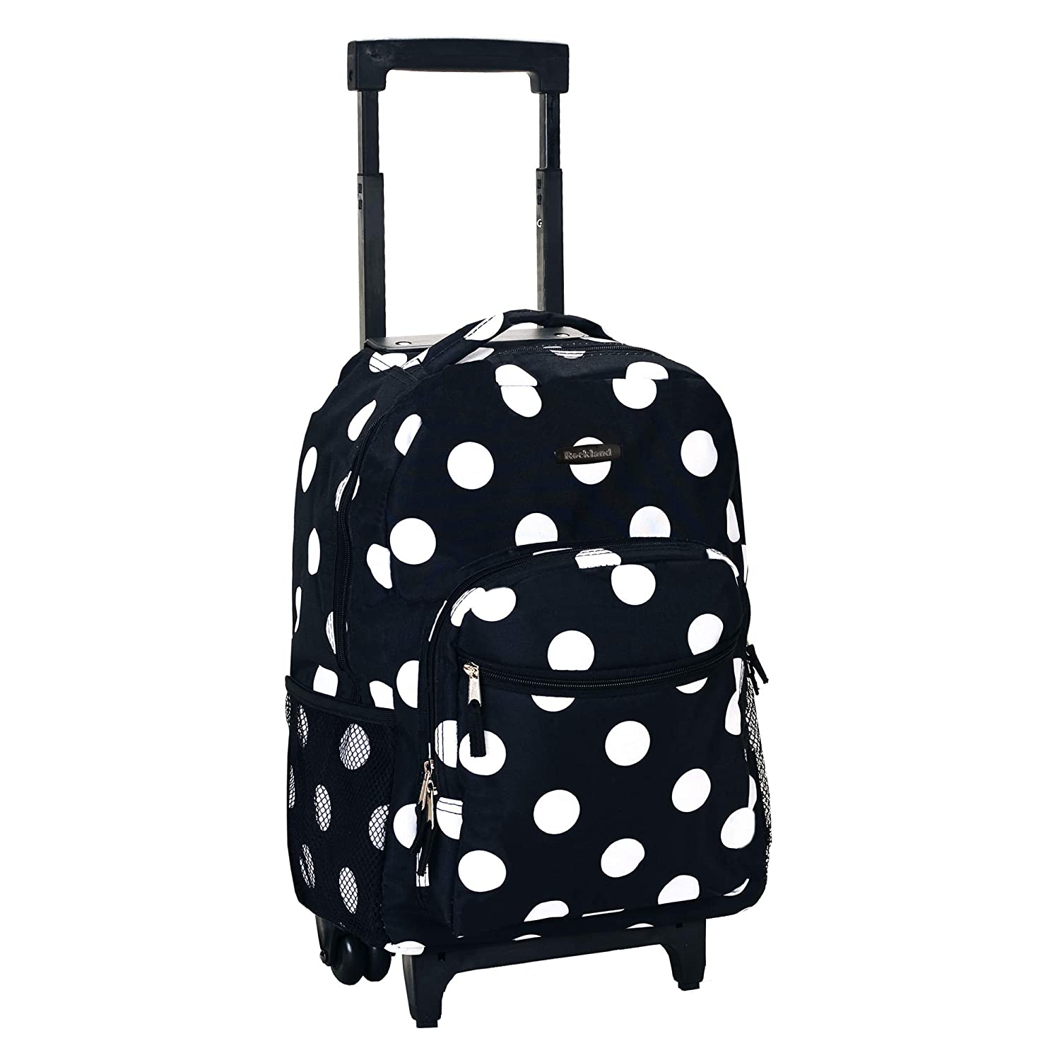 Rockland Luggage 17 Inch Rolling Backpack, Black Dot, Medium