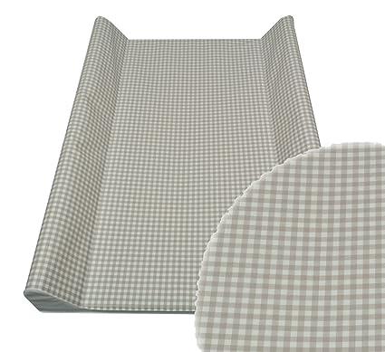 ASMI cambiador Colchón cambiador con cuadros gris pardo Talla:70 x 50 cm