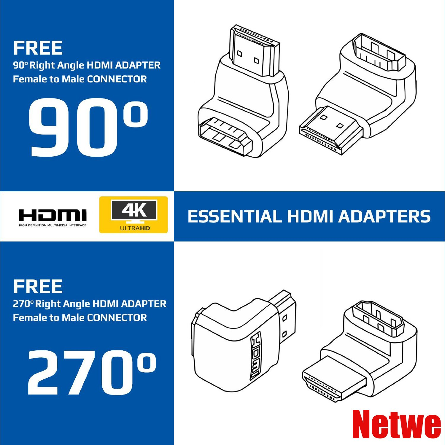 Netwe High Speed Hdmi Cable 10 Feet Supports Ethernet3d4k And Highdefinition Multimedia Interface Connector Diagram Audio Return Latest Standard 2 Free Male To Female Adapters Hi Fi