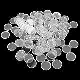 100pcs Boîte de Monnaie Transparent en Plastique Collecteur de Pièces Multiusage Mixte Taille - 24mm