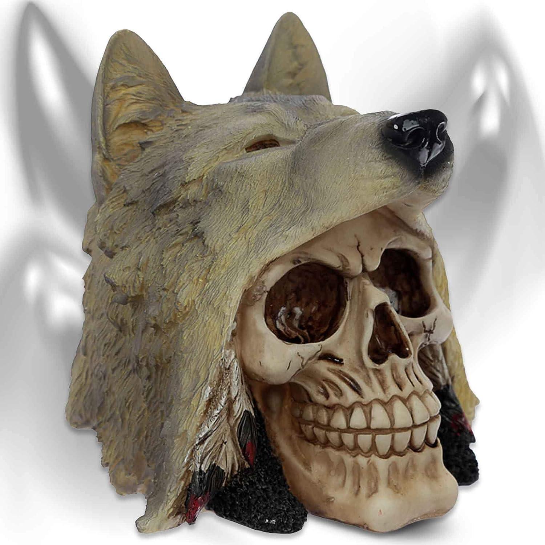 Teschio 'Shaman of the white wolve' Teschio decorativo con cappello di lupo mtb more energy®
