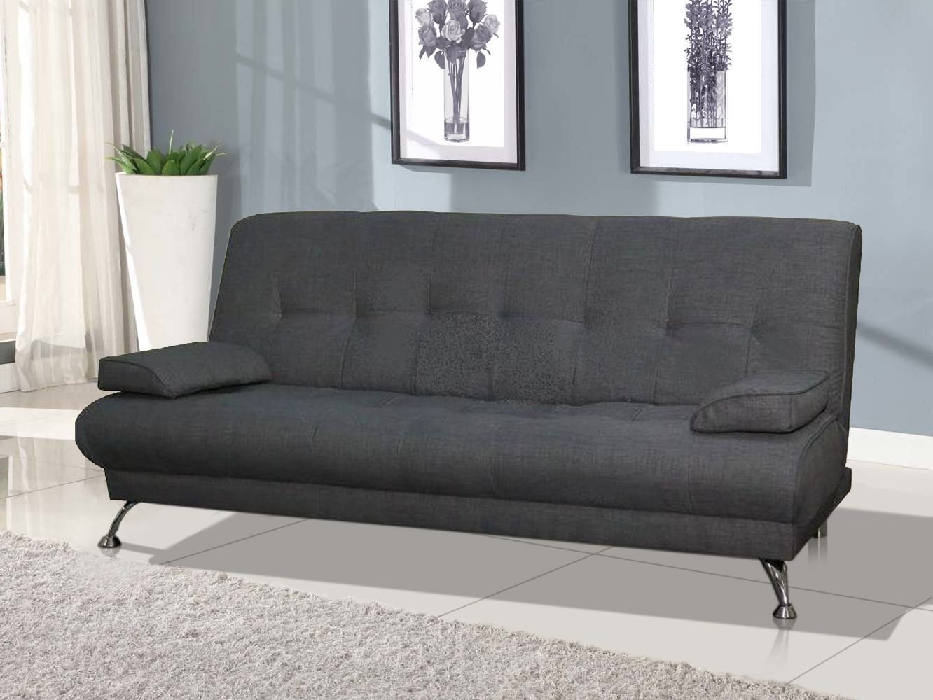 Milan Venice Sofa Bed in Grey Fabric S&S Furnishings LTD