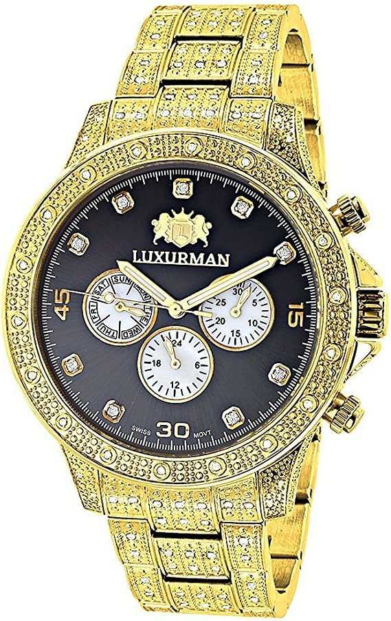 Swiss Movement Iced Out Mens Diamond Watch 1.25ct Yellow