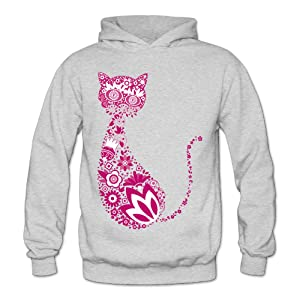 Lennakay Work Adult's Cat Kitty Pullover Hoodie With No Pocket Ash For Woman SizeS