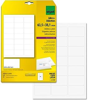 Sigel LA320 Etiquetas para direcciones (Ink/Laser/Copy), 63,50x38