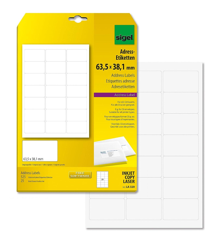 Sigel LA320 abgerundete Adress-Etiketten weiß, 63,5 x 38,1 mm, 525 ...