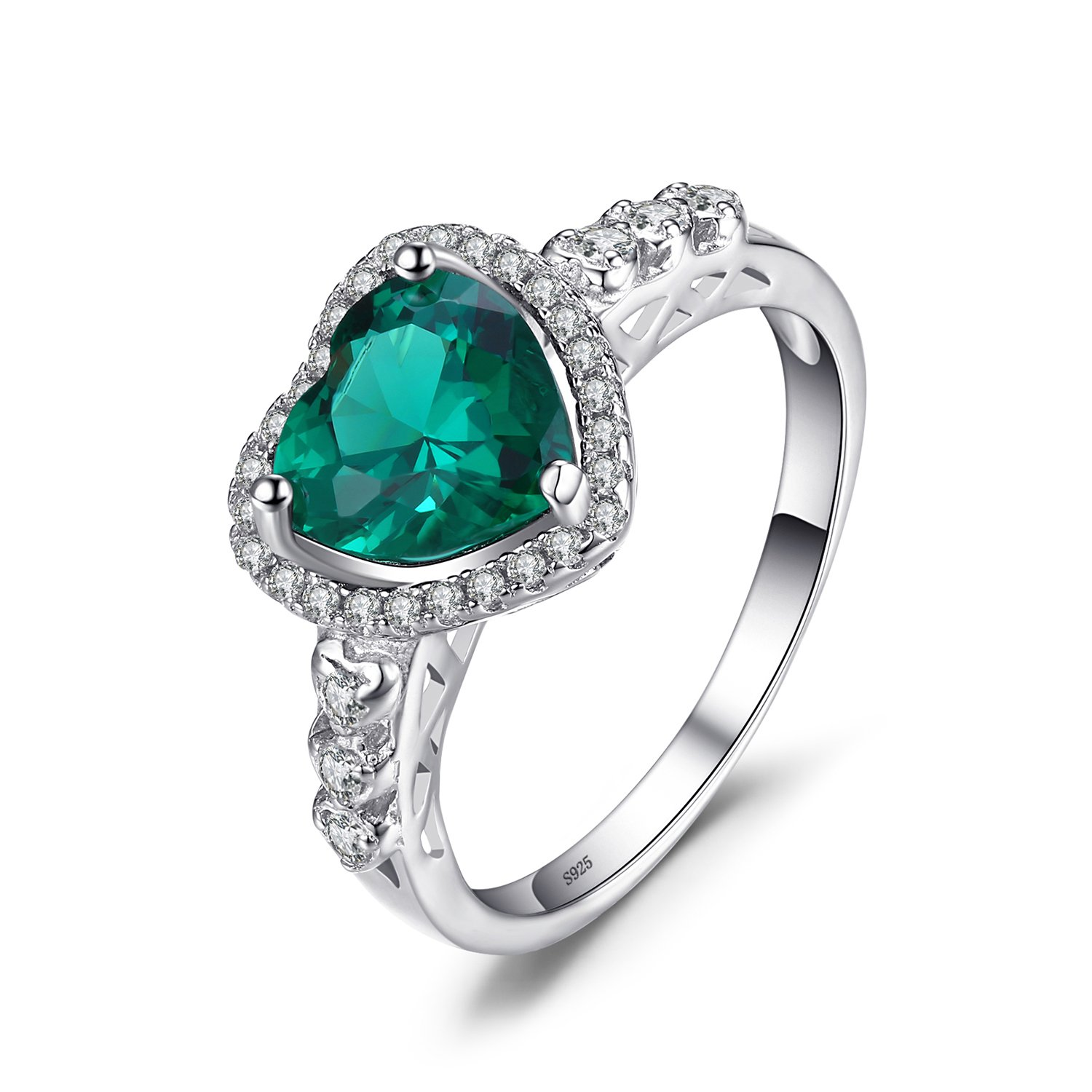 JewelryPalace Heart Of Ocean 1.8ct Nano Russian Simulated Emerald Love Forever Halo Promise Ring 925 Sterling Silver 800266SCJR