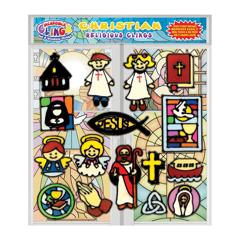 Christianity Gel Clings - Thick Vinyl Window & Wall Clings for Kids and Toddlers - Educational, Religious and Spiritual Gels for Home, Travel, Classrooms, Teachers - Church, Jesus, Cross and More!