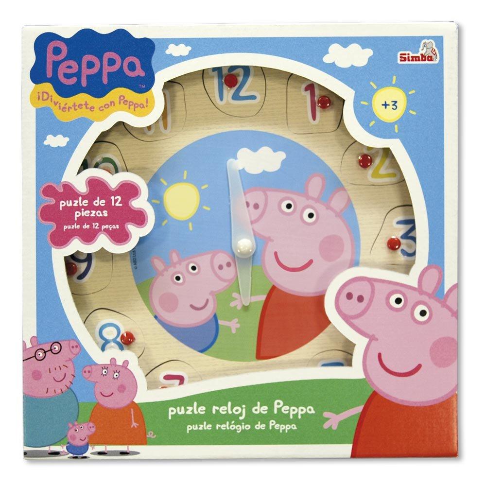 Peppa Pig - Puzzle y reloj de madera (Simba 7216): Amazon.es: Juguetes y juegos