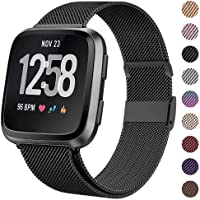HAPAW Bands Compatible with Fitbit Versa/Versa 2, Women Men Metal Stainless Steel Replacement Sport Bracelet Strap Wristbands Accessories Small Large with Magnet Lock for Versa Smartwatch