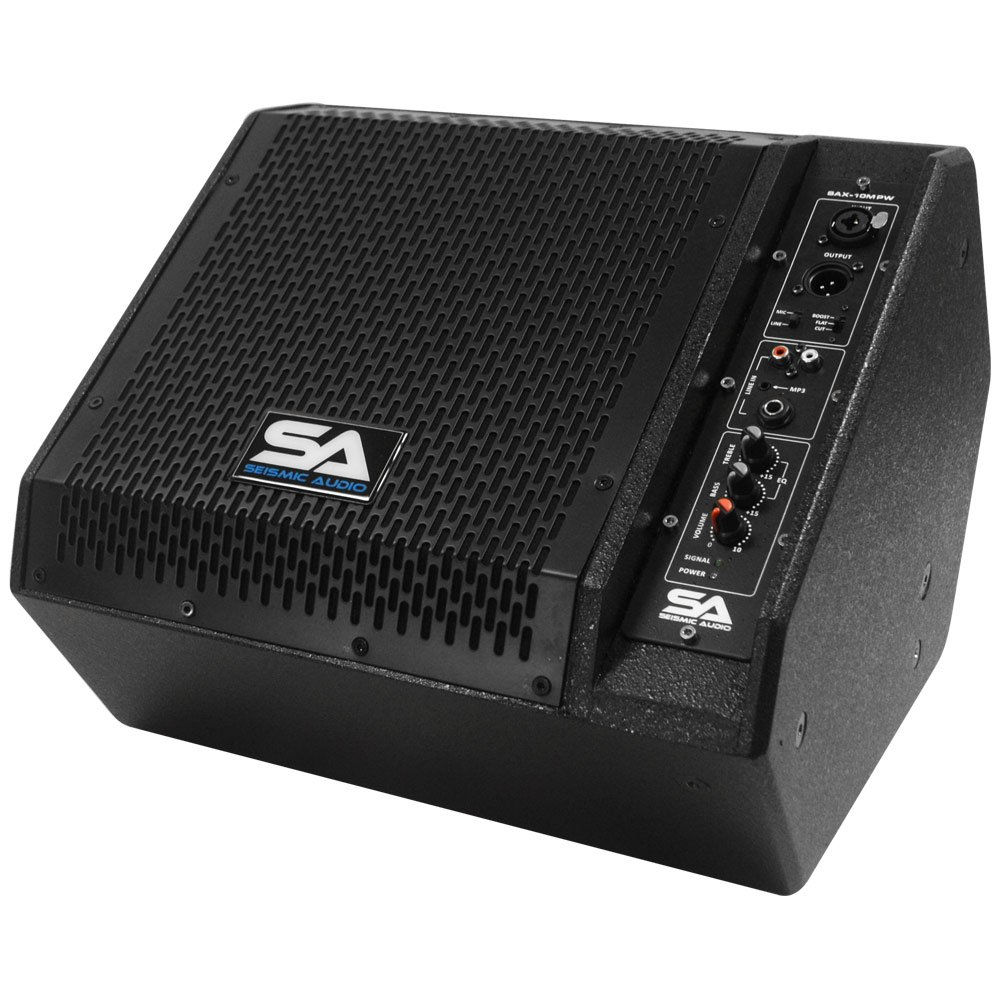 Seismic Audio - SAX-10M-PW - Powered Compact 10-Inch 2-Way Coaxial Floor/Stage Monitor with Titanium Horn