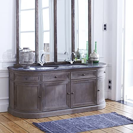 Tikamoon Louise Meuble Avec Double Vasque Chene Gris 180 X 64 X 85 Cm Amazon Fr Cuisine Maison