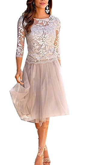 dc200f6b7 ShineGown Mother of The Bride Dresses for Wedding Tulle Knee-Length with 3/4  Sleeves Gown: Amazon.co.uk: Clothing