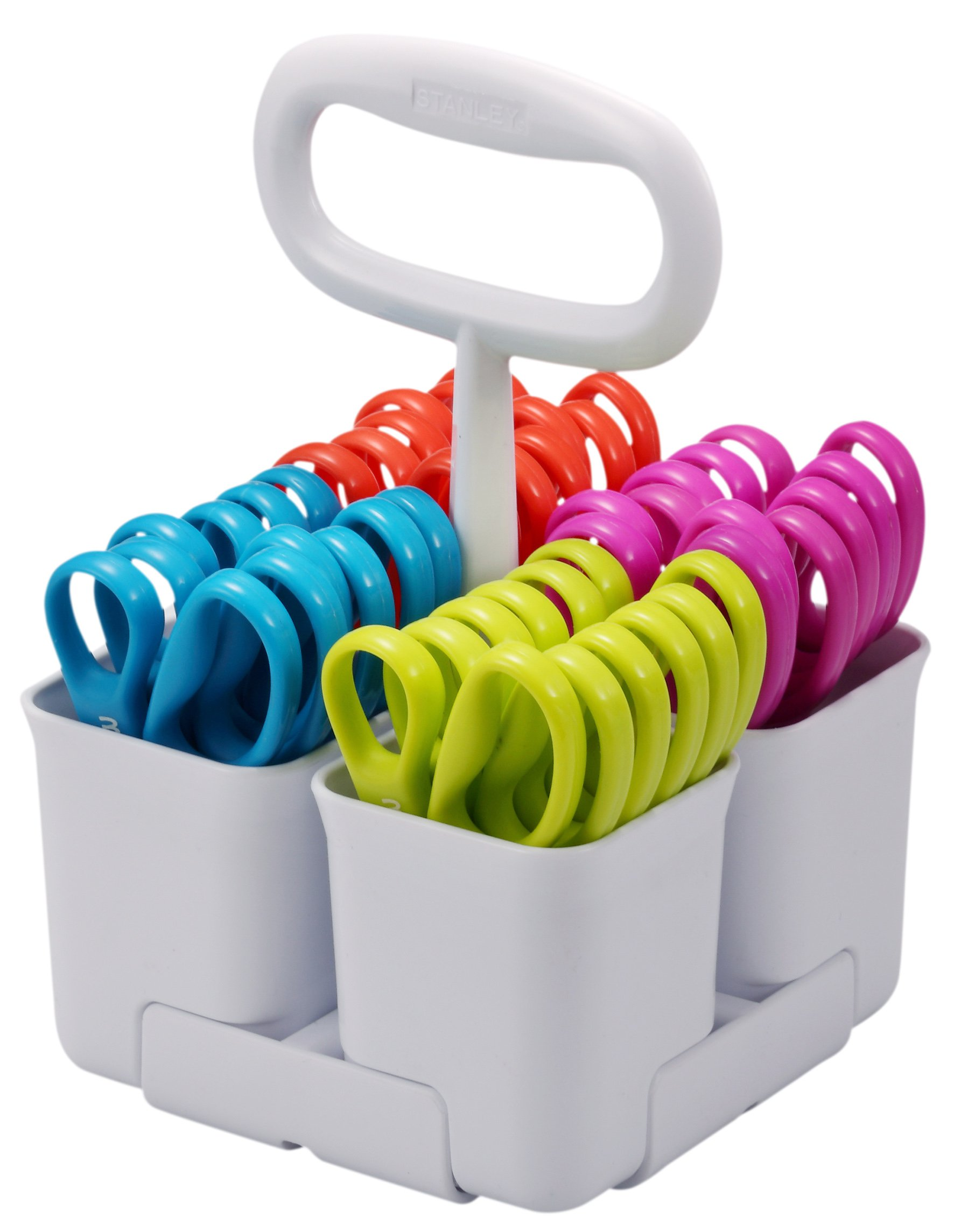 Stanley Removable 4 Cup Scissor Caddy and Guppy 5-Inch Blunt Tip Kids Scissors, 24 Pack (SCICAD-BT24) by Stanley Scissors