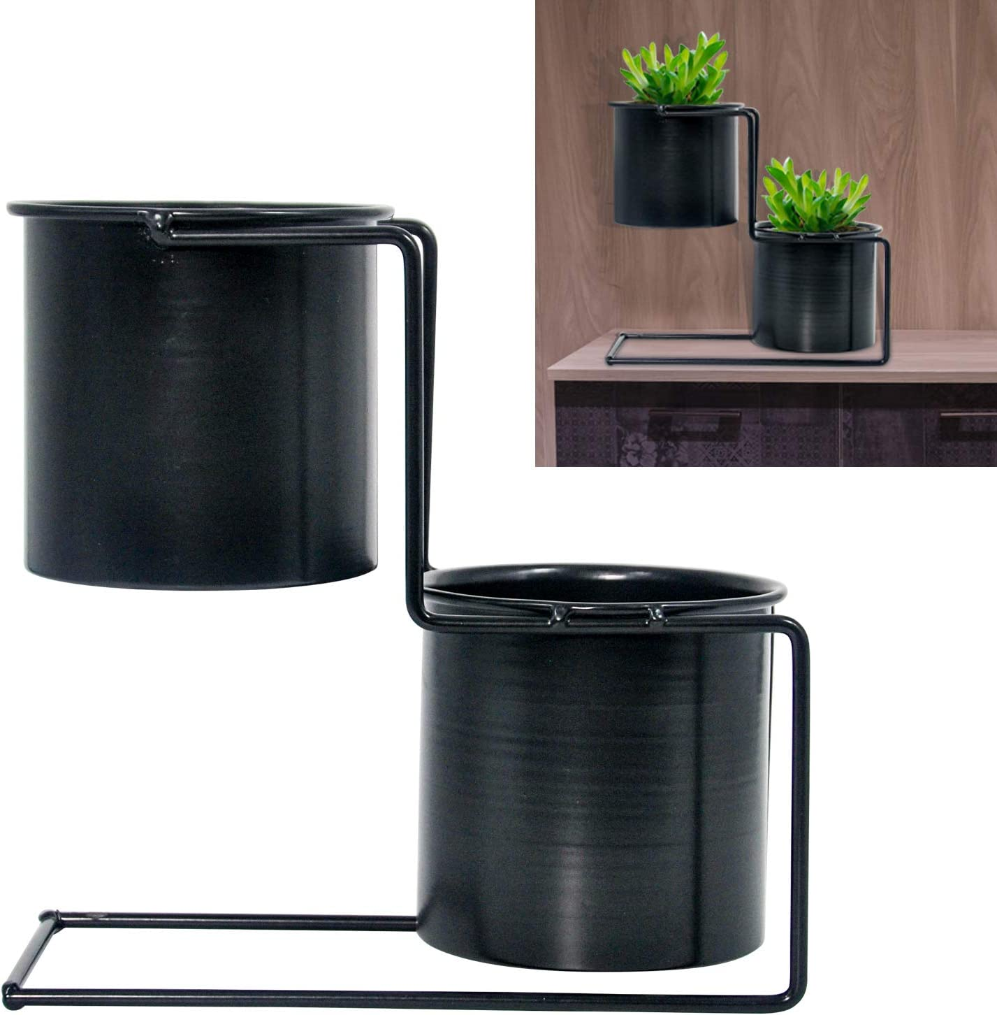 2 in 1 Metal Round Modern Flower Vase Stepped Iron Tabletop Plant Pots with Stand Indoor Outdoor Balcony, Tabletop, Bathroom, Kitchen, Bedroom, Study, Office Desktop Decoration (Black)