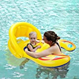 Mère Baby Swimming Pool Float - Beby 2017 Summer New Design Swim Ring Parent Enfant gonflable Pare-soleil Safe Handhold Double Seat Boat pour 6 mois Baby Kids