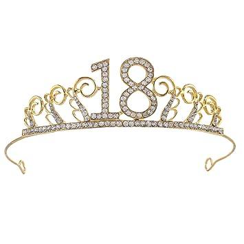 3ad0f82136 Amazon.com : 18 birthday Party Tiara Rhinestone Crown Headband for ...