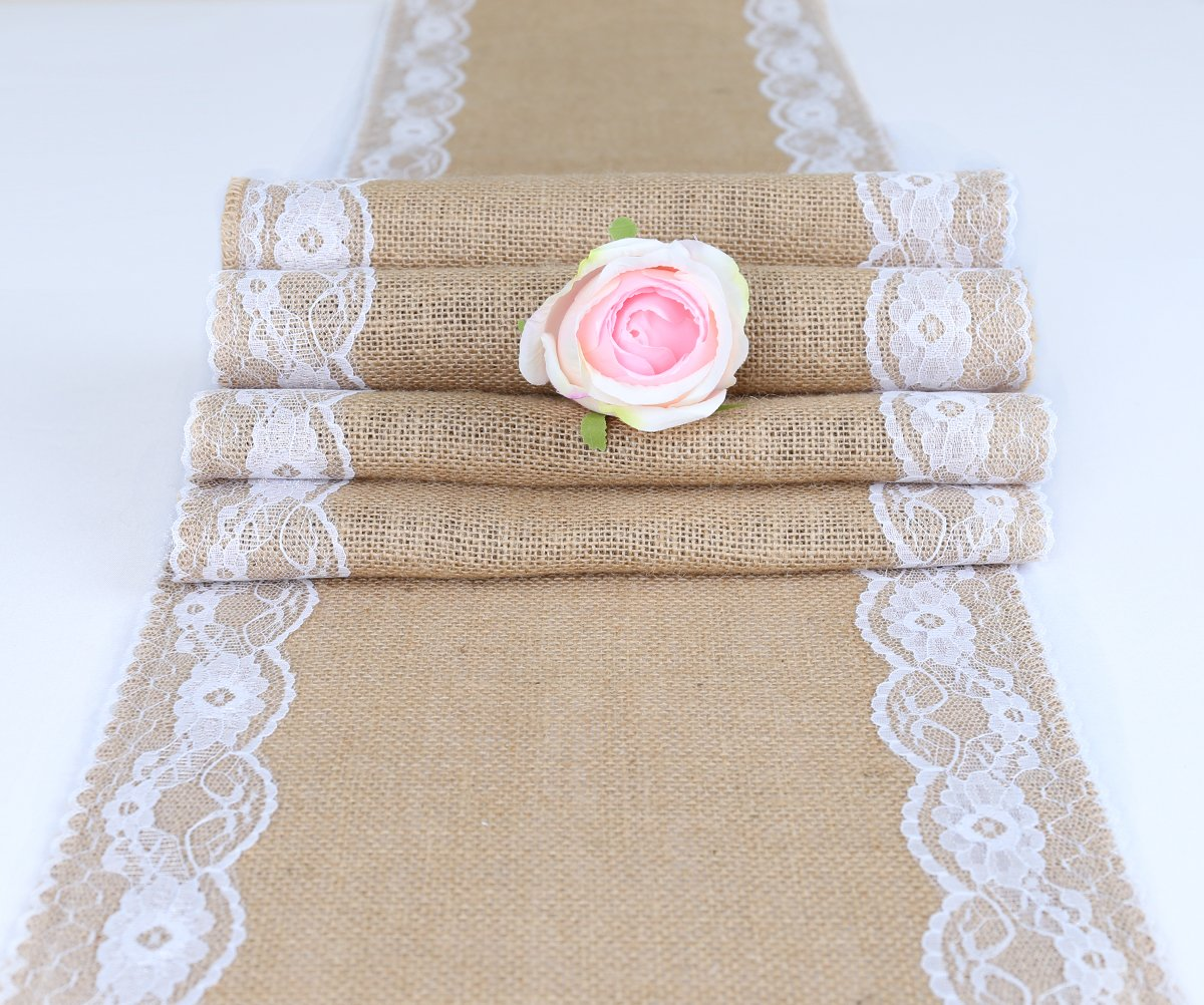 TRLYC Pack of Five Wedding 12 by 108-Inch Burlap White Lace Table Runner Hessian Table Cloth for Country Outdoor Wedding Party Decor by TRLYC (Image #2)