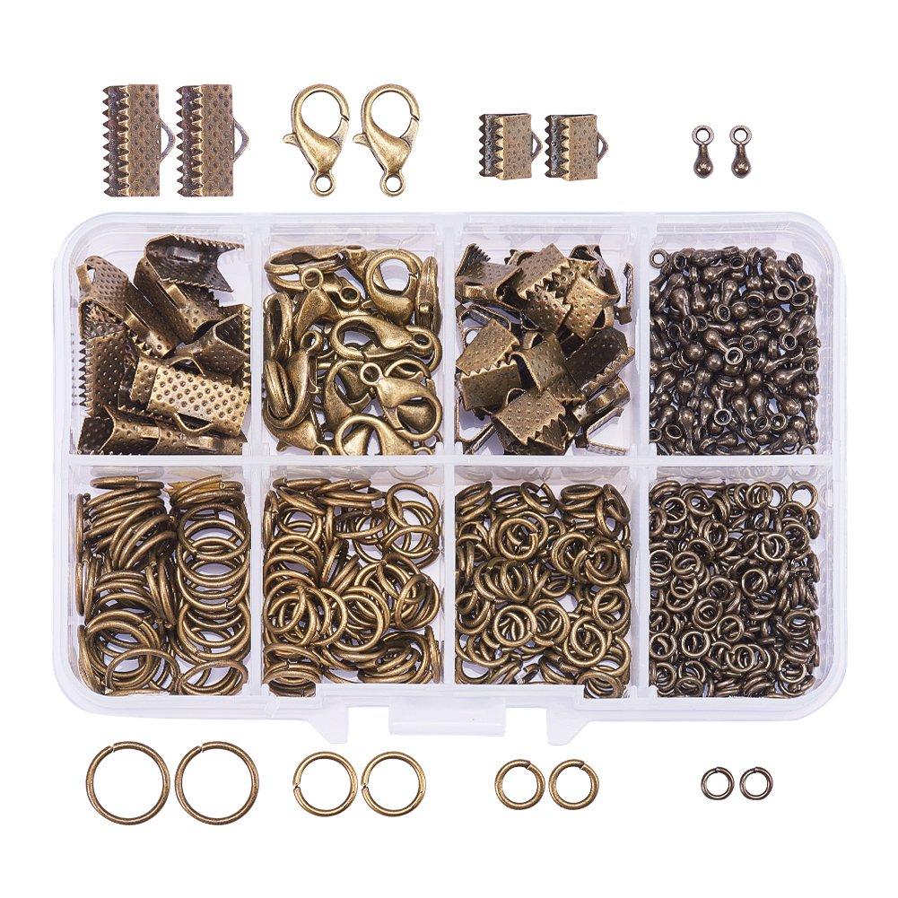 Pandahall 120Pcs 10~30mm 6 Sizes Platinum Iron Slide On End Tube Clasps for Beading Weaving Bracelet Necklace Jewlery Making