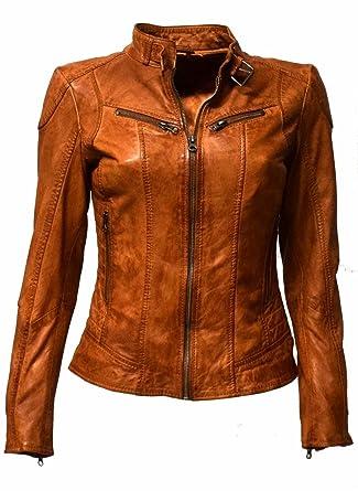 hot sale online 141bc 6c7a9 Zimmert Lederjacke Damen Cognac Biker Frida Slim-Fit weiches ...