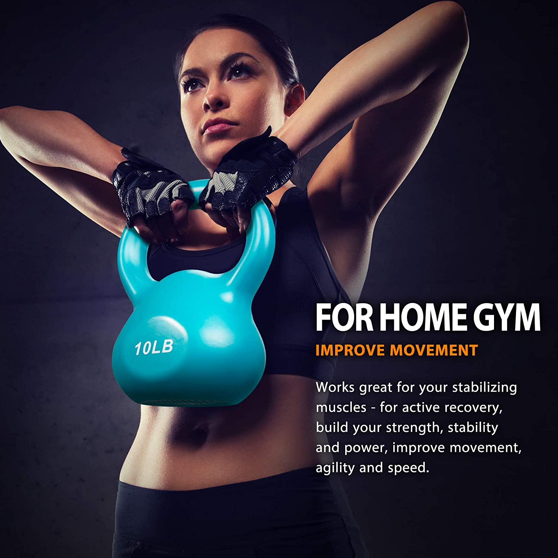 Core Kettlebell Set for Home Gyms Miroddi Kettlebell Weights Solid Iron Kettlebells Vinyl Coated Exercise Kettlebell Set for Women Kettle Bal Training Equipment Workout Free Weights for Ballistic