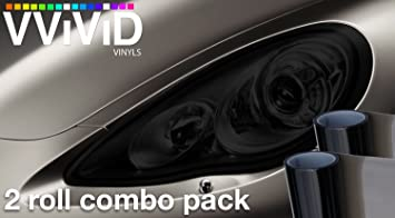 VViViD® Smoke Black Gloss Vinyl Headlight Foglight Transparent Tint Wrap  Self-Adhesive 12