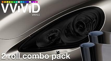 "VViViD Smoke Black Adhesive Headlight Wrap Wet Tinting Vinyl 16/"" x 48/"" Roll 1"