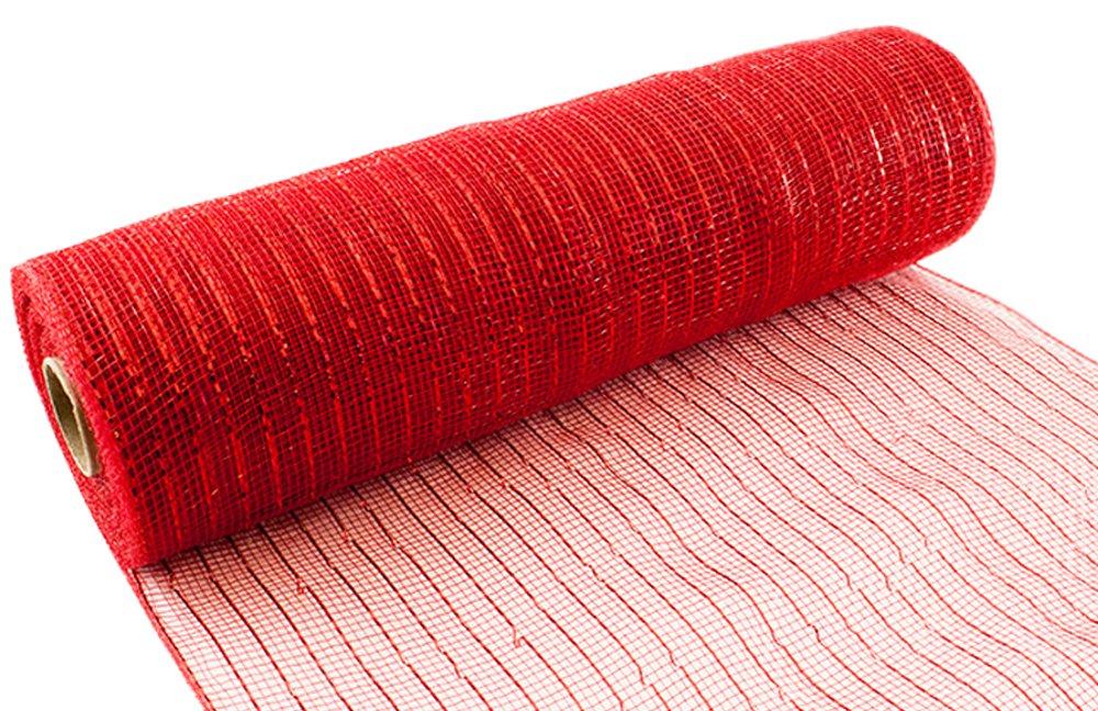 Eleganza No. 16Metallic Deco mesh, rosso, 25cm x 9.1m Oaktree 639546