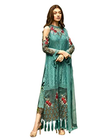 18f58d5c6a0 Shoppingover Bollywood Indian Designer Pakistani Salwar Kameez Suit Party  wear Dress-Blue Color  Amazon.co.uk  Clothing