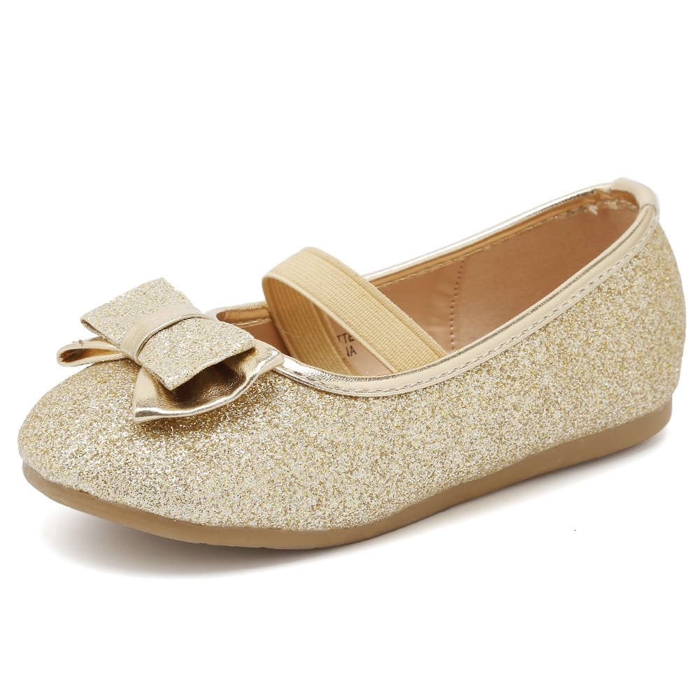CIOR Girls Ballet Flats Shoes Ballerina Bowknot Jane Mary Wedding for Party Toddlers Elastic Princess Dress from Merence,VGZA3,Light Gold Glitter,21
