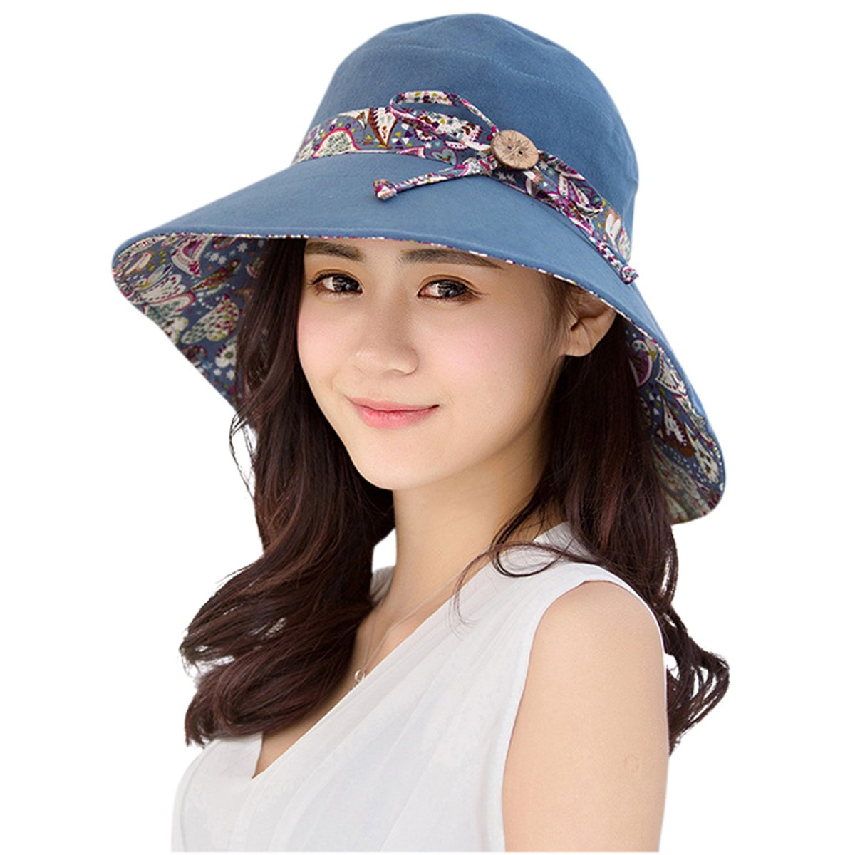 HindaWi Womens Sun Hat Summer Reversible UPF 50+ Beach Hat Foldable Wide Brim Cap, Blue