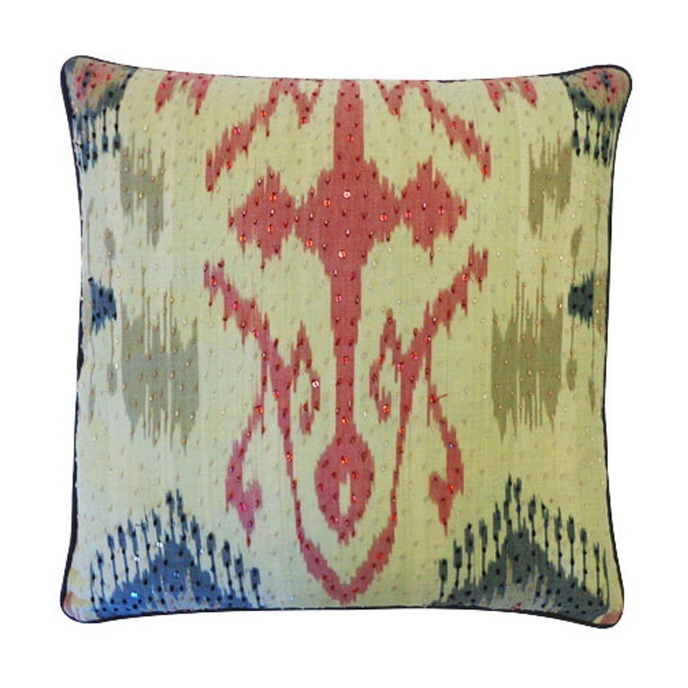 Vivai Home Grey Multi Color Bombay Abstract 18x 18 Square Feather Pillow